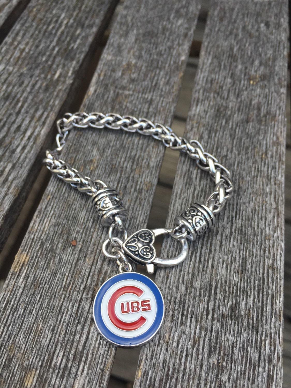 silver chicago cub jewelry silver chicago cub bracelet cub