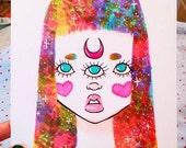 Three eyed space haired girl - galaxy hair - rainbow hair - colorful hair - weird girl - Halloween - Drawing - Inktober - Sketch