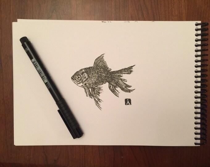 KillerBeeMoto: Original Pen Sketch of a Gold Fish