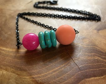Summer Vibes Black - necklace with pink jade, turquoise rondelles and matte orange turquoise beads. Gemstones, rocks, minerals, boho, gypsy