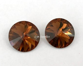 12mm SMOKED TOPAZ 1122 Swarovski Crystal Rivoli 6 pieces, Brown