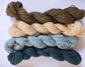 mini skein, merino single, hand dyed, natural dyed