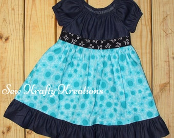 Girl's Dress - Dark Denim with Teal Flowers - Elastic Neck Dress