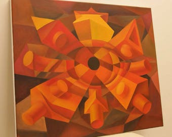 Geometrical eye cubism abstract original oil painting perspective dimensions inception dream intense vibrant saturated colors canvas 20x24