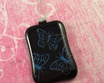 Large etched butterfly dichroic glass pendant