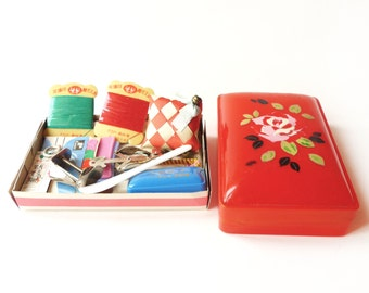 VINTAGE 1950's , Lovely Sewing Set , Red Celluloid Box with Rose Stencil Motif , 14 pieces ( New Old Store Stock ) , Collector