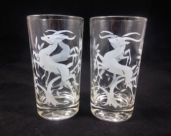 White Leaping Gazelle Drinking Glasses Federal Glass Vintage 10 Ounce Tumblers Set of 2
