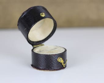 Ring Box Black with Gold Clasp and cream interior- Antique