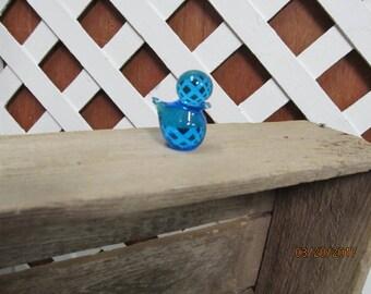 """Beautiful Teeny Tiny Blown Glass Cobalt Blue Bird Miniature 1 3/4"""" Hand Blown Glass"""