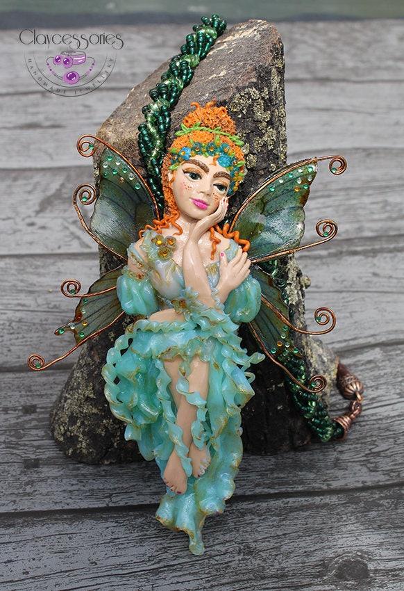 Fairy necklace / Fairy pendant / Fairy tale  jewelry / Statement necklace / Fantasy necklace / Fairy charm / Polymer clay necklace