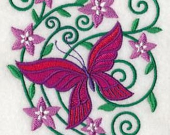 PAIR hand towels - burst of spring butterfly 1 -  15 x 25 inch for kitchen / bathroom MORE COLORS