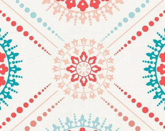 Coral and Teal Modern Medallion Organic Fabric - By The Yard - Girl / Modern
