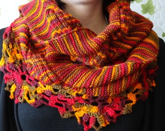Scarf summer autumn red claret yellow woman