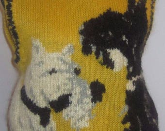 Vintage Ugly Sweater 80's 90's Dog Vest  Homely Schnauzer Terrier S M
