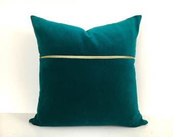 Teal Velvet Pillow Cover with Brass Zipper.