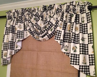 Made To Order......Using YOUR Fabric.....Cute Lined Rod Pocket Gathered Swag Valance with 2 Gathered Jabots