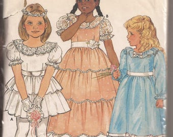 Butterick 6324 Girls Dress and Petticoat Pattern Size 4. Vintage 1980's