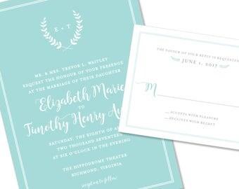Floral / Botanical Wedding Invitation | Monogram Wedding Invite | DIY Option Available | Invitation | RSVP | Info Card #1188