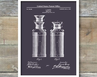 Milk Can Patent Print, Milk Can Poster, Kitchen Decor, Farmhouse Wall Decor, Gift for Mom Vintage Milk Can Poster, P496