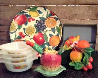 Chalkware Fruit Basket Wall Hanging - Miller studios