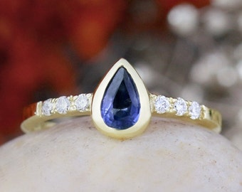 Blue Sapphire Engagement Ring | Bezel Centerstone | Prong Setting | Polished Finish | Solid 14K Gold | Fine Jewelry | Free Shipping