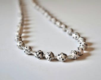Black&White Soho Paper Beads Necklace from Africa, Hand-Made, Eco-Friendly