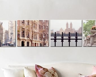 New York canvas art set 4 gallery wrap nyc canvas, New York City Manhattan, 4 piece wall art, nyc architecture buildings urban wall decor