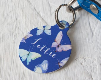 Personalised Butterfly Pet ID Tag  - Dog Name Identification