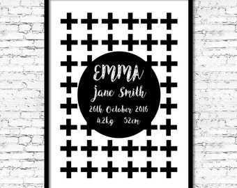 PRINTABLE Baby Birth Print - Personalized Newborn Print - Baby Announcement Wall Art - Modern - Black and White Cross