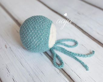 Newborn baby boy or girl sea green bonnet, knitted, Photo prop, Ready to send