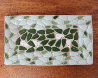 Midcentury Mosaic Catch All Dish with Green Leaf Motif