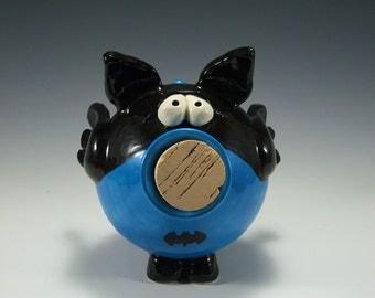 Pottery Piggy Bank | Superhero Bank | Batman Bank | Ceramic Piggy Bank | Unique Bank | Pottered and Pieced