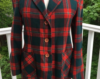 "Red and Forest green plaid 1940""s-1950""s style blazer-medium"