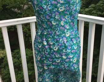 1960's green floral print wiggle dress large