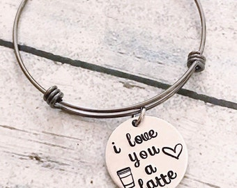 Love bracelet - Gift for loved one - Hand stamped bracelet - Personalized bracelet - Hand stamped jewelry - I love you a latte - Valentine