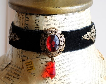 Victorian Choker with Red Crystals,Gothic Black Velvet Choker,Victorian Gothic Jewelry-Ready to Ship