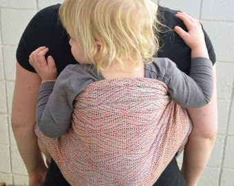 "Handwoven size 1 cotton Baby Wrap with Sling Rings. Early Desert Daze ""kaleidoscope"""