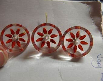 1 Very rare 1940's Carved lucite button clear with orange  19 mm dia 010517/3