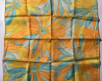 LAUGH IN Vintage 1960s Mod Orange and Blue Floral Scarf