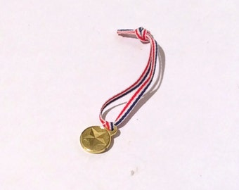 Vintage 1990s Barbie Gold Olympic Medal with Red White and Blue Ribbon