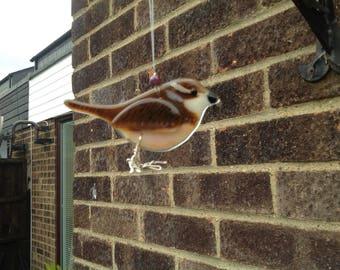 Jenny Wren, Fuses glass bird- British bird- Garden bird-Gift-Birds