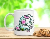 Mug art, cute coffee cup, teacup , baby elephany nature lovers mugs tourquoise white pink. Hot drink holder. Endangered species single item