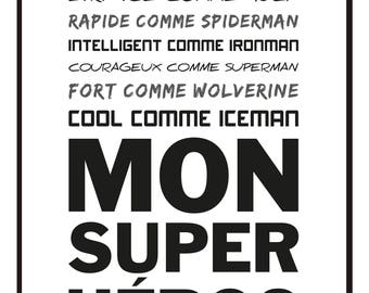 30 X 40 cm - poster-Poster - Super Hero dad - father's day