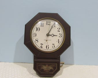 General Electric Wall Clock ~ Dark Brown Electric Wall Clock ~ Retro Kitchen ~ Mad Men Era ~ Mid-Century Decor