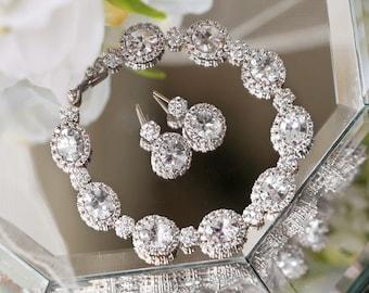 Silver Bridal Jewelry Sets Swarovski Crystal Jewelry Wedding Bracelet Silver Drop Earrings CZ Wedding Jewelry Earring Set B225-E342