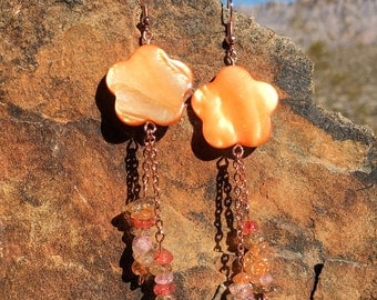 Orange earrings Abalone Shell Earrings dangle earrings drop earrings long earrings colorful earrings natural earrings summer earrings