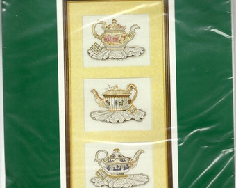 Set of 3 Tea Pots Cross Stitch Kit