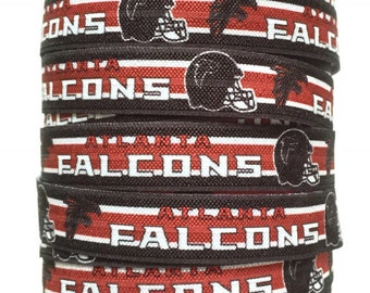 5/8 inch FOE Atlanta Falcons Fold Over Elastic Ribbon, Atlanta Falcons FOE, Falcons Ribbon, Elastic Ribbon By The Yard by KC Elastic Ties