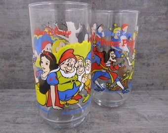 Walt Disney Peter Pan and Snow White and the seven dwarfs glasses