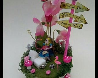 Pink Alice in Wonderland Tea Cup Scene Sugar Bowl Table Centrepiece Cake Topper
